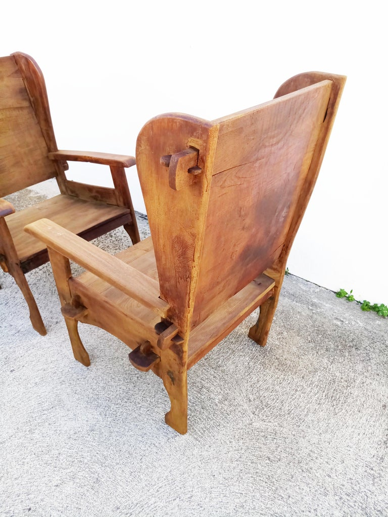 20th Century Pair of Midcentury Scottish Brutalist Wooden Armchairs For Sale