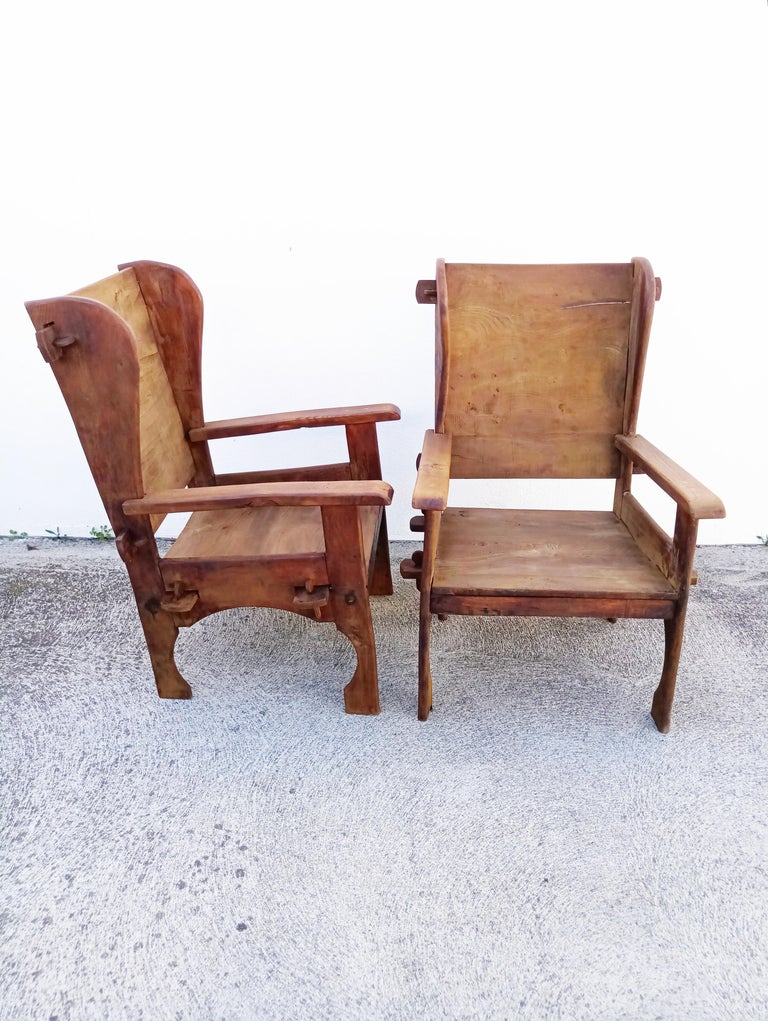 Pair of Midcentury Scottish Brutalist Wooden Armchairs For Sale 1