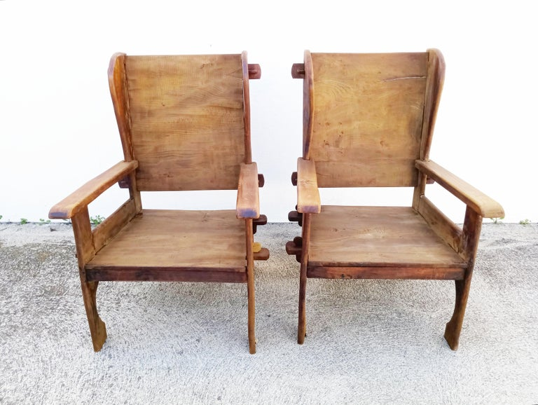 Pair of Midcentury Scottish Brutalist Wooden Armchairs For Sale 2