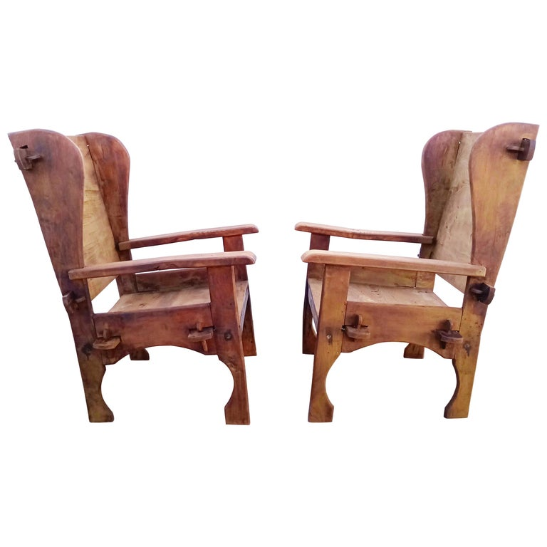 Pair of Midcentury Scottish Brutalist Wooden Armchairs For Sale