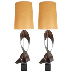 Pair of Mid-Century Sculptural Brutalist Patinated Steel Ribbon Table Lamps