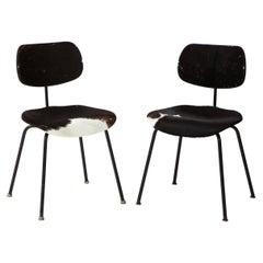 Pair of Mid-Century SE 68 Chairs by Egon Eiermann in Original Cowhide