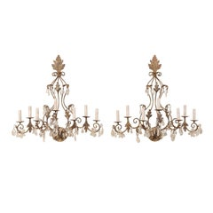 Pair of Mid-Century Seven-Light Crystal and Iron Sconces with Leaf Crest Tops