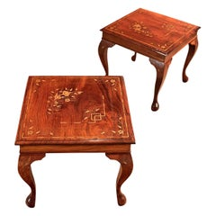 Pair of Midcentury Side Tables, Inlaid Asian Walnut