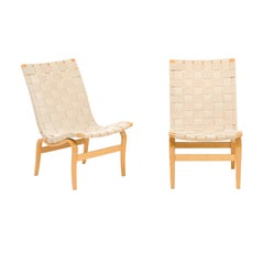 Pair of Midcentury Signed Bruno Mathsson for DUX Armless Eva Chairs