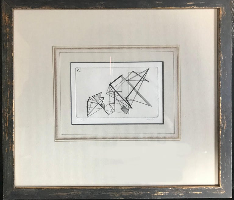 Pair of midcentury hand-drawn geometric modernist-movement engravings on French mats with hand-rubbed copper leaf antiqued frames. Signed and numbered, circa 1940.