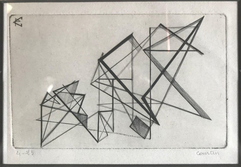 Mid-Century Modern Pair of Midcentury Signed Geometric Engravings For Sale