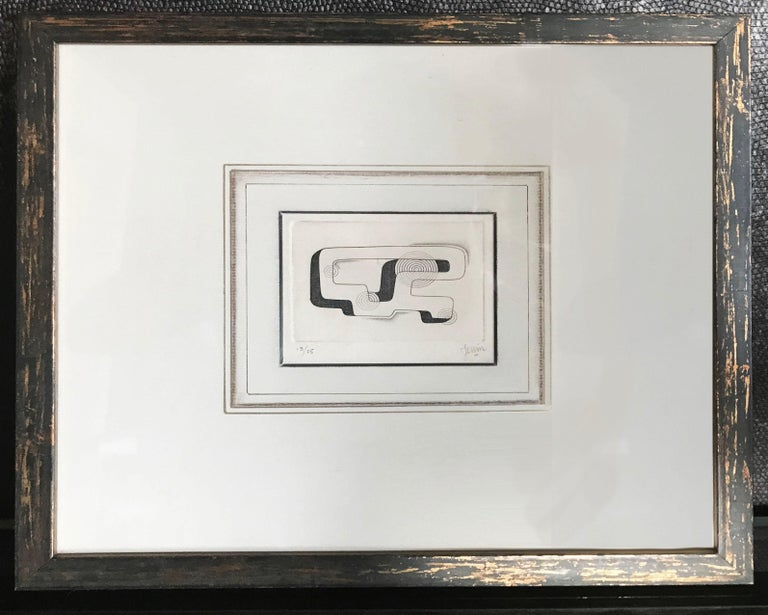 Pair of Midcentury Signed Geometric Engravings In Excellent Condition For Sale In San Francisco, CA
