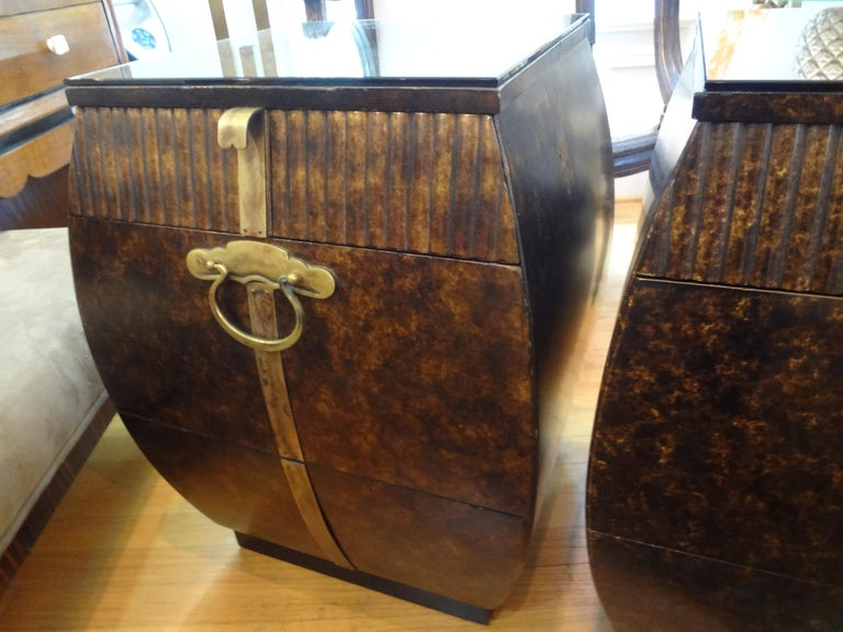 Brass Pair of Mid-Century Signed John Widdicomb Nightstands For Sale