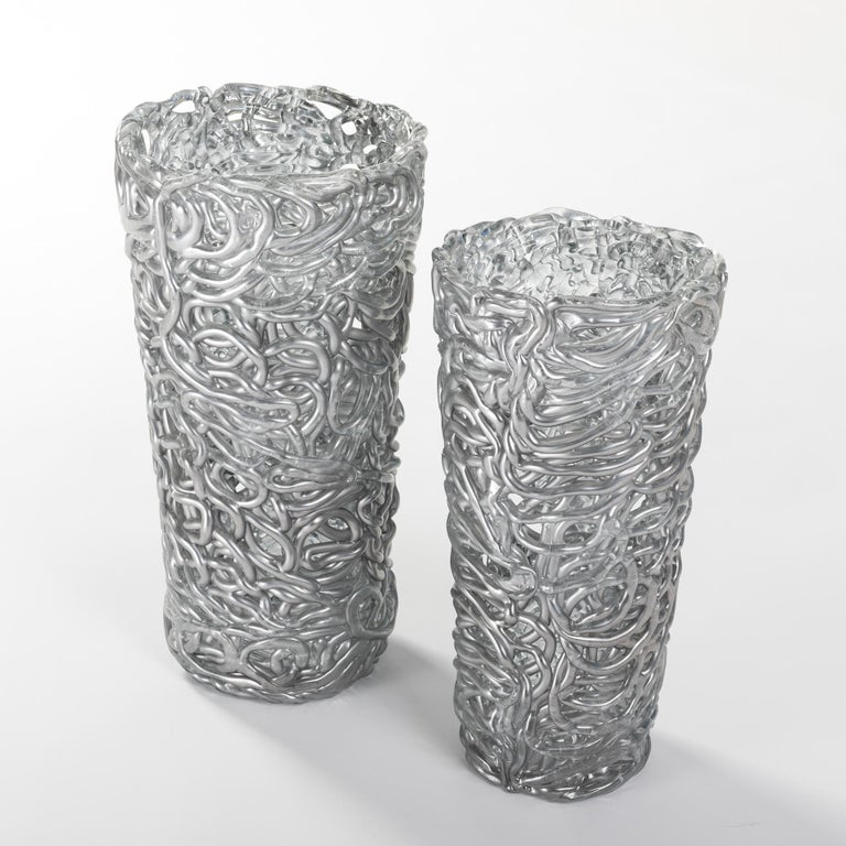 Mid-Century Modern Pair of Midcentury Silver-Colored Murano Glass Vases out of Glass Veins For Sale