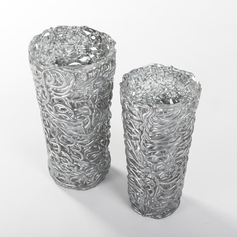 Italian Pair of Midcentury Silver-Colored Murano Glass Vases out of Glass Veins For Sale