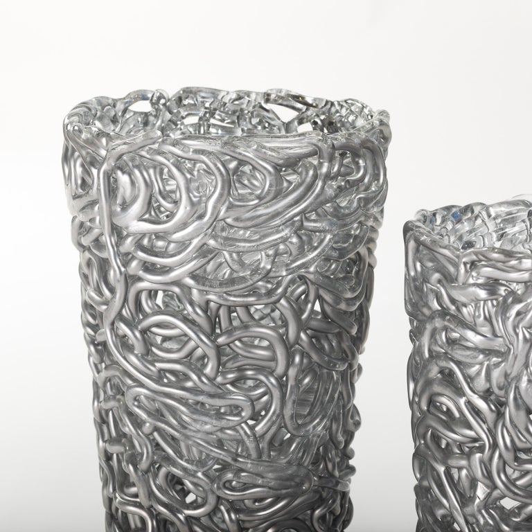 Hand-Crafted Pair of Midcentury Silver-Colored Murano Glass Vases out of Glass Veins For Sale