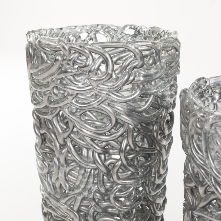 Pair of Midcentury Silver-Colored Murano Glass Vases out of Glass Veins In Good Condition For Sale In Salzburg, AT