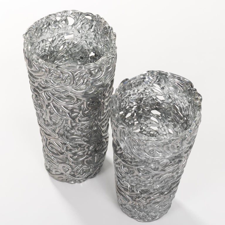 Late 20th Century Pair of Midcentury Silver-Colored Murano Glass Vases out of Glass Veins For Sale