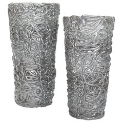 Pair of Midcentury Silver-Colored Murano Glass Vases out of Glass Veins