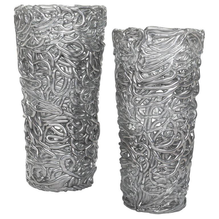 Pair of Midcentury Silver-Colored Murano Glass Vases out of Glass Veins For Sale