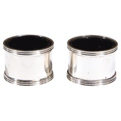 Pair of Mid Century Silver Plated Cylindrical Salt Cellars by Tiffany & Co.
