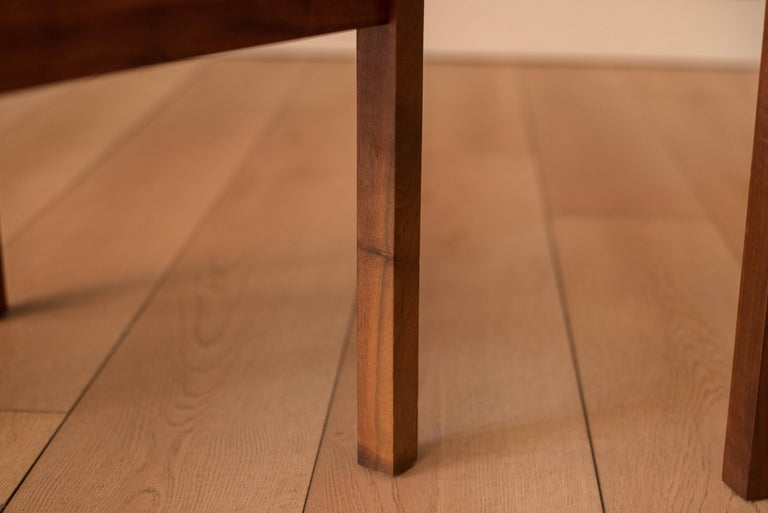 Pair of Midcentury Slate and Walnut End Tables by Jack Cartwright for Founders For Sale 4