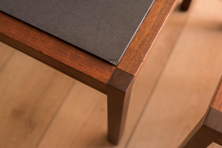 Pair of Midcentury Slate and Walnut End Tables by Jack Cartwright for Founders For Sale 7