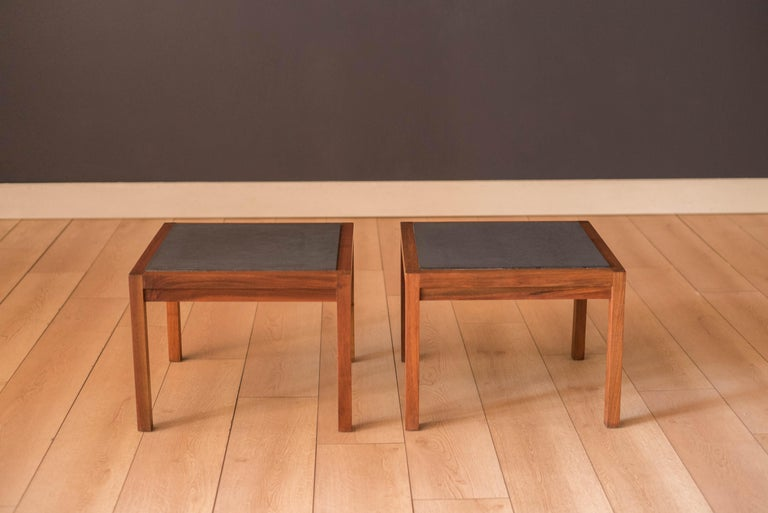 Mid-Century Modern Pair of Midcentury Slate and Walnut End Tables by Jack Cartwright for Founders For Sale