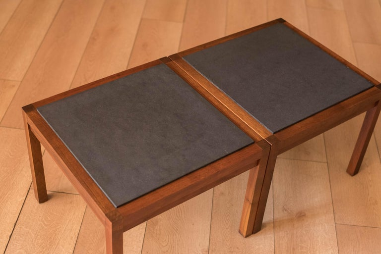 American Pair of Midcentury Slate and Walnut End Tables by Jack Cartwright for Founders For Sale
