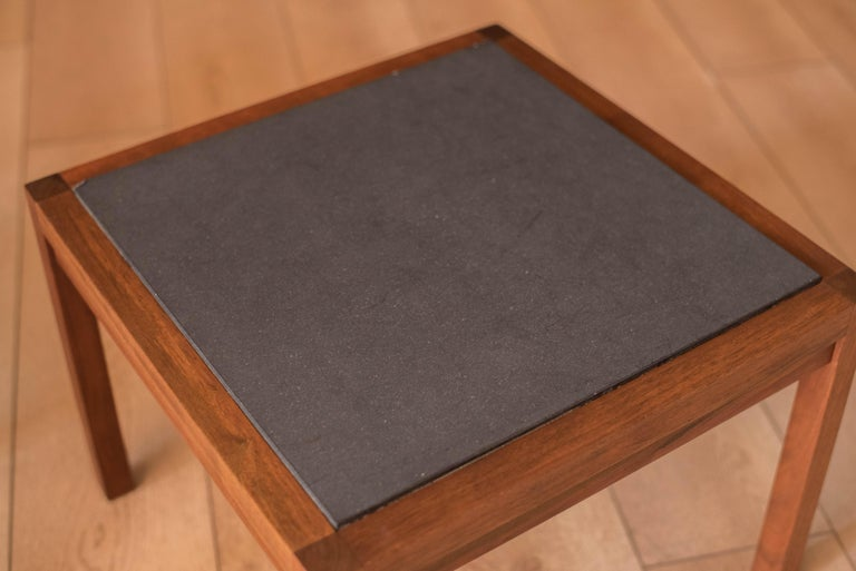 Mid-20th Century Pair of Midcentury Slate and Walnut End Tables by Jack Cartwright for Founders For Sale