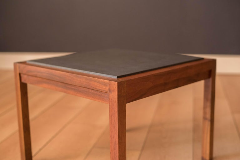 Pair of Midcentury Slate and Walnut End Tables by Jack Cartwright for Founders For Sale 1