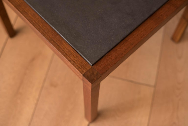 Pair of Midcentury Slate and Walnut End Tables by Jack Cartwright for Founders For Sale 2