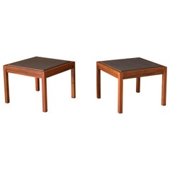 Pair of Midcentury Slate and Walnut End Tables by Jack Cartwright for Founders