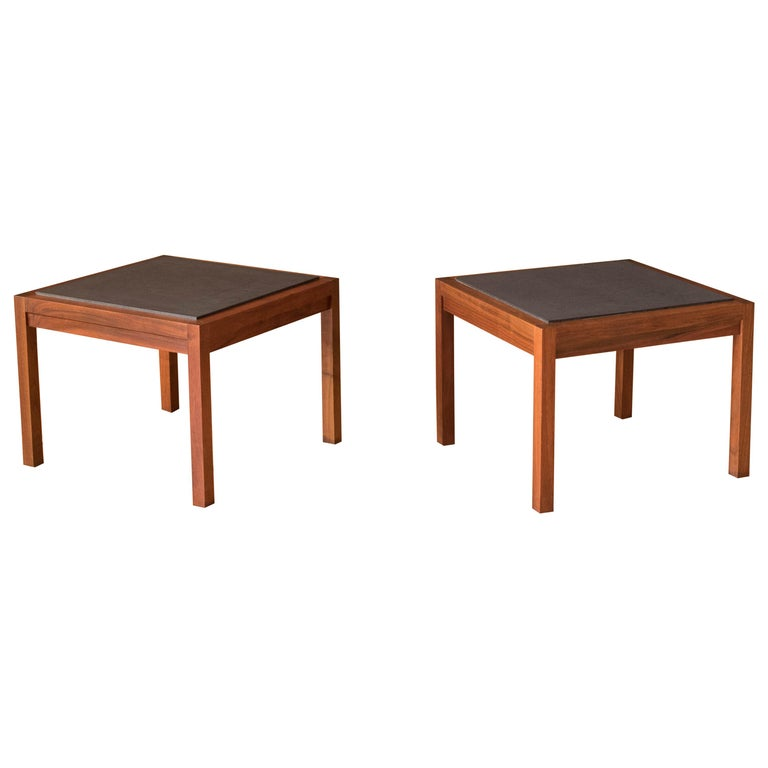 Pair of Midcentury Slate and Walnut End Tables by Jack Cartwright for Founders For Sale