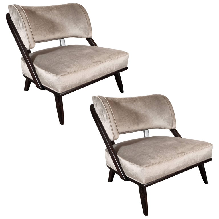 Pair of Midcentury Slipper Chairs in Ebonized Walnut by Robsjohn-Gibbings