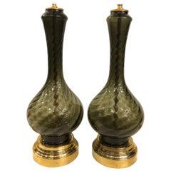 Pair ofMidcentury Smoke Glass Lamps
