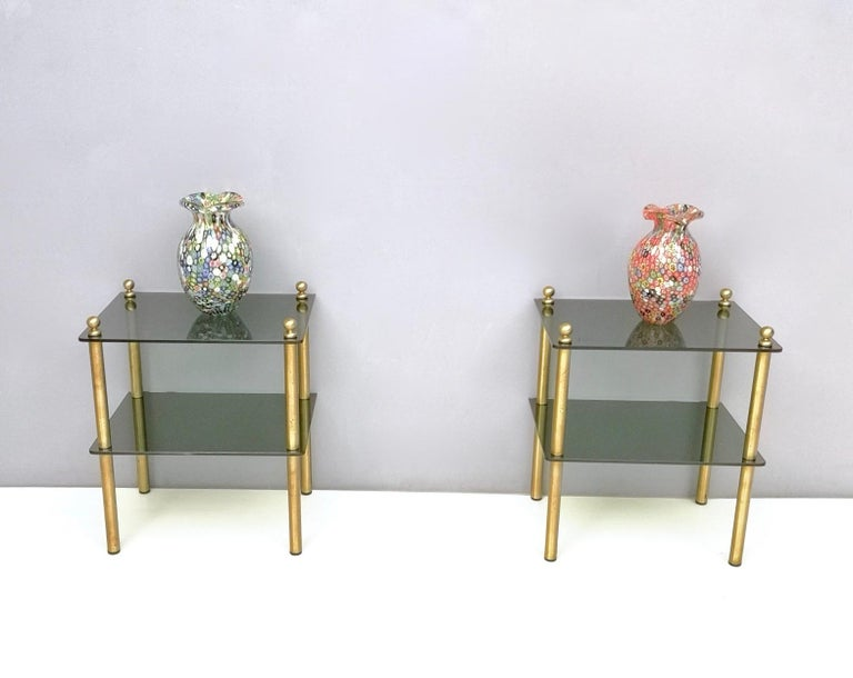 Italian Pair of Midcentury Smoked Glass and Brass Nightstands, Italy