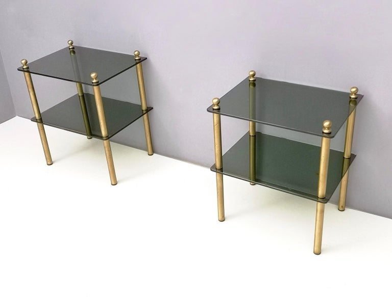 Pair of Midcentury Smoked Glass and Brass Nightstands, Italy In Good Condition In Bresso, Lombardy