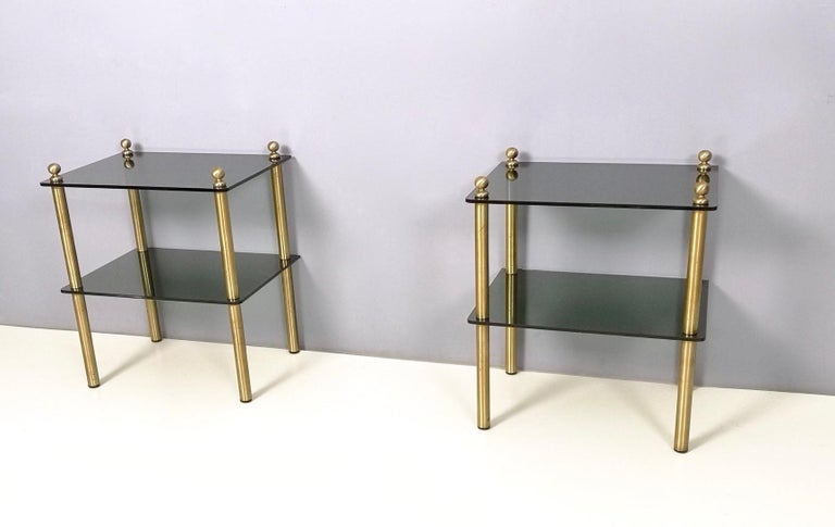 Mid-20th Century Pair of Midcentury Smoked Glass and Brass Nightstands, Italy