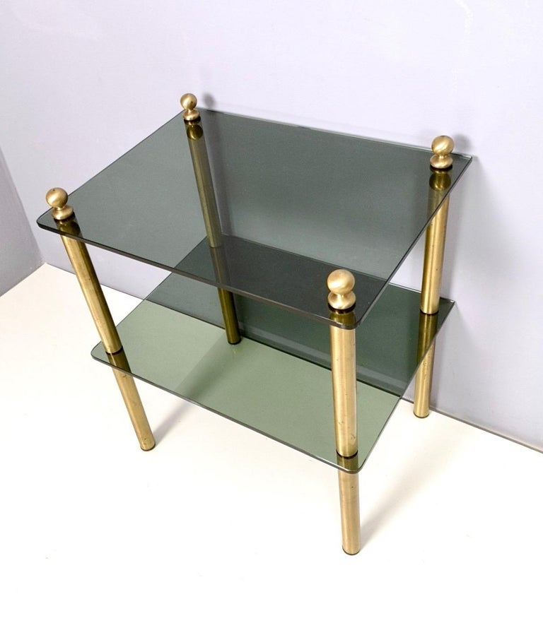 Pair of Midcentury Smoked Glass and Brass Nightstands, Italy 1