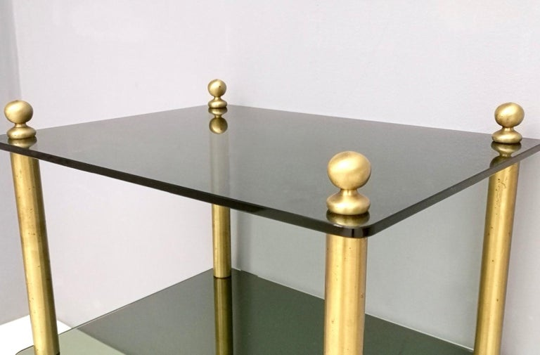 Pair of Midcentury Smoked Glass and Brass Nightstands, Italy 2