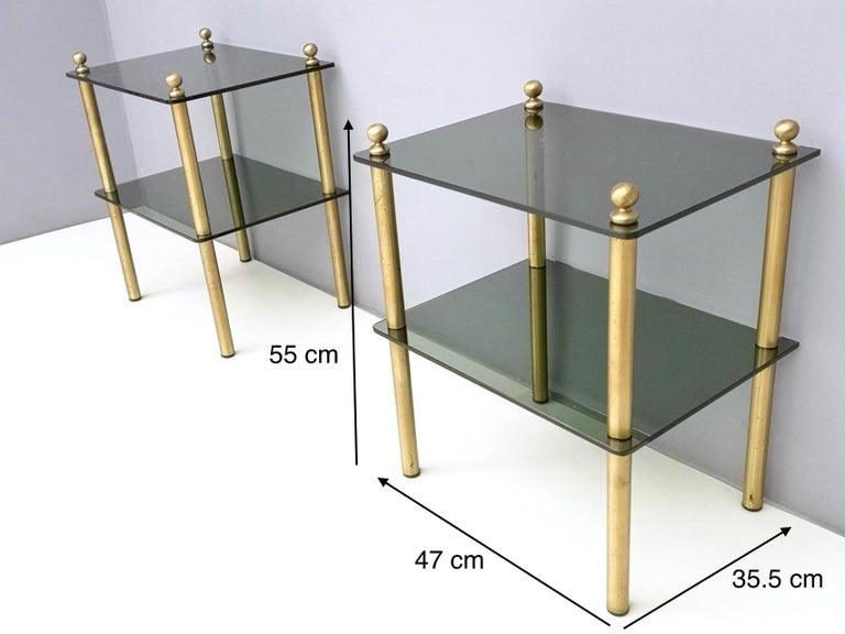 Pair of Midcentury Smoked Glass and Brass Nightstands, Italy 3