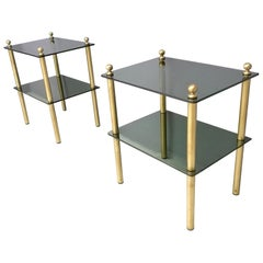 Pair of Midcentury Smoked Glass and Brass Nightstands, Italy, 1960s