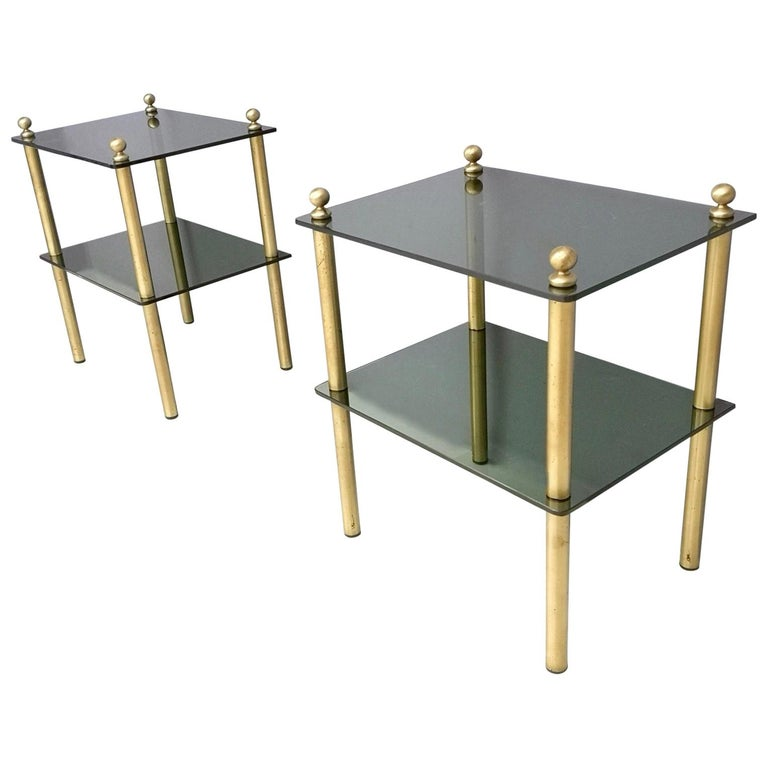 Pair of Midcentury Smoked Glass and Brass Nightstands, Italy