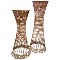 Pair of Mid-Century Spun Fiberglass Pedestals / Plant Stands by Russell Woodard