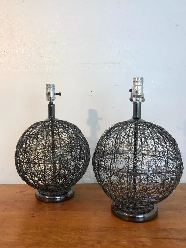 Mid-Century Modern Pair of Midcentury Spun Gun Metal Sphere Lamps For Sale