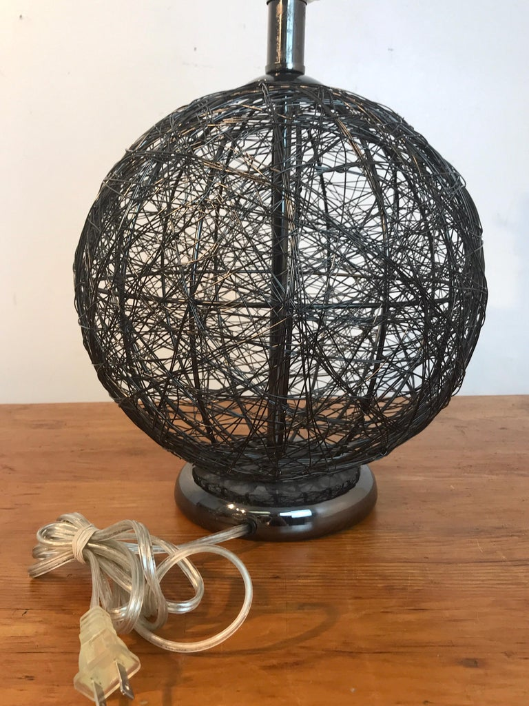 Pair of Midcentury Spun Gun Metal Sphere Lamps In Good Condition For Sale In West Palm Beach, FL