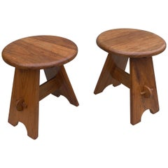 Pair of Midcentury Stools in Solid Elmwood, France, 1950s