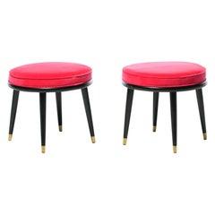 Pair of Mid Century Stools with Schiaparelli Pink Velvet Seats & Brass Sabots