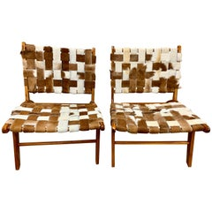 Pair of Midcentury Style Cowhide Strap Lounge Chairs