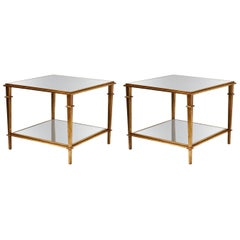 Pair of Midcentury Style Side Tables in Wood with Mirror Tops