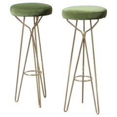 Pair of Midcentury style Stools Italian Design Brass Gold Solid Green Velvet