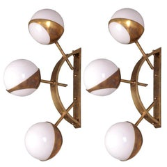 Pair of Midcentury Style Triple Orb Brass and Opal Glass Wall Lights