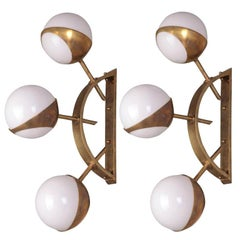 Pair of Mid-Century Style Triple Orb Brass & Opal Glass Wall Lights (US Spec)